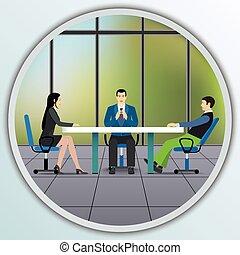 ügy emberek, hivatal., ülés, elintéző, asztal