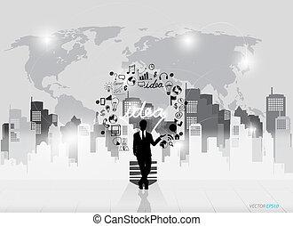 ügy emberek, körvonal, és, égő, mint, ihlet, fogalom, noha,...
