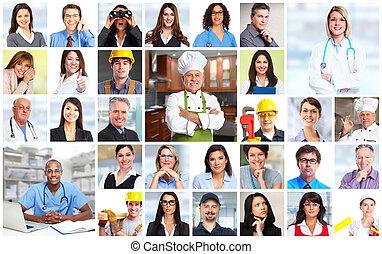 ügy emberek, munkás, arc, collage.