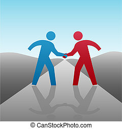 ügy emberek, partner, fordíts, előrehalad, együtt, noha, kézfogás