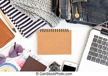 ügy fogalom, terület, munka, bír, laptop, diagram, és, smartphone., szelektív, összefut.