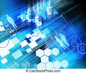 ügy, hálózat, jövő, háttér