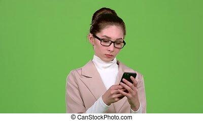ügy hölgy, alatt, egy, üzenet, telefonon, fordíts, neki,...