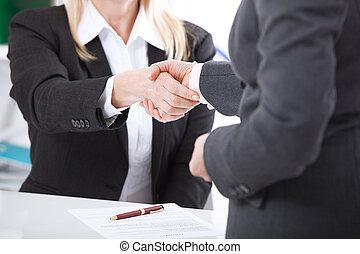 ügy, handshake., ügy, kézfogás, és, ügy emberek, concept.
