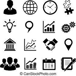 ügy icons, állhatatos, helyett, infographics