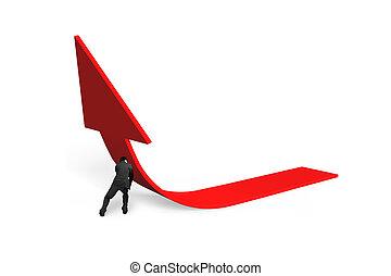 ügy irány, rámenős, 3, nyíl, emelkedő, piros, ember