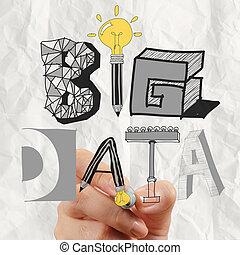 ügy, kéz, rajz, graphic tervezés, nagy, adatok, szó, mint, fogalom