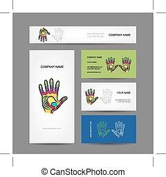 ügy, kéz, reflexology, tervezés, kártya, masszázs