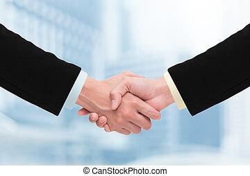 ügy, kézfogás, és, ügy emberek, concepts.