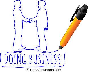 ügy, kézfogás, rajz, üzlet, emberek