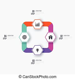 ügy, lépések, 4, sablon, infographics