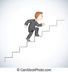 ügy, mászó, siker, lépcsőfok, ember