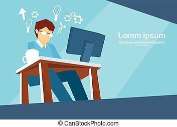 ügy, munka, desktop, szabadúszó, számítógép, ember