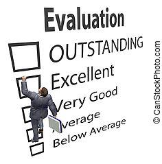ügy, munkavállaló, mászik, feláll, értékelés, javítás, forma