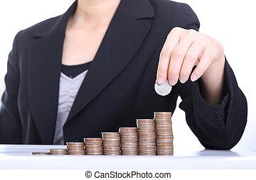 ügy, pénz, dobás, érme, kazal, nők