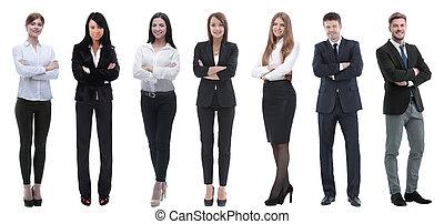 ügy, sikeres, emberek, csoport, row., álló