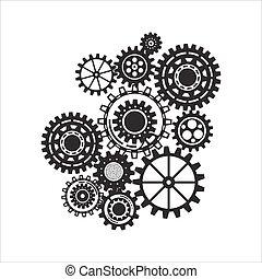 ügy, szerkezet, concept., elvont, háttér, noha, összekapcsolt, fogaskerék-áttétel, és, ikonok, helyett, stratégia, szolgáltatás, analytics, kutatás, seo, digitális, marketing, közöl, concepts.