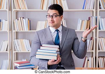 ügy, törvény, diák, noha, felhalmoz of előjegyez, dolgozó, alatt, könyvtár