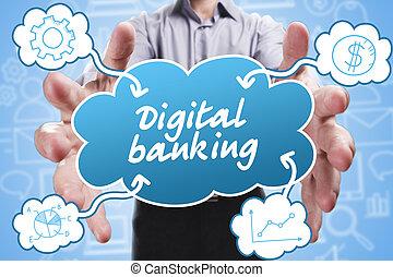 ügy, technológia, internet, és, marketing., fiatal, üzletember, gondolkodó, about:, digital part