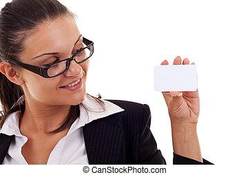 ügy woman, átnyújtás, neki, névjegykártya