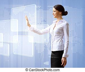 ügy woman, és, touchscreen, technológia