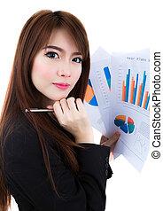 ügy woman, befolyás, csipeszes írótábla, dolgozat, noha, pénzel, diagram, elszigetelt, felett, white háttér