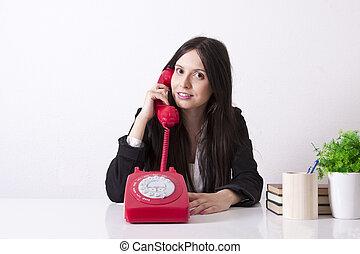 ügy woman, noha, telefon