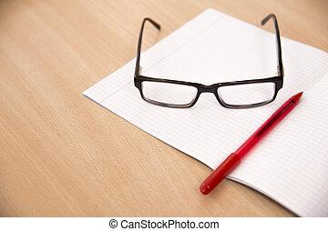 ügy, zenemű, noha, laptop, szemüveg, és, akol
