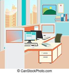 ügyintézés, állás, noha, számítógép, és, dolgozat,...