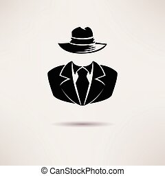 ügynök, kémkedik, titkos, vektor, icon., maffia, ikon