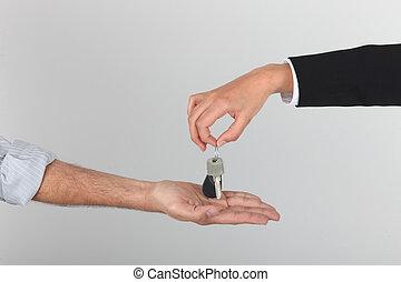 ügynök, kiadás, kulcsok, fordíts, egy, új családi