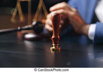 ügyvéd, szoba, ügy, concept., cégtábla szerződő, sötét, akol, szökőkút, ügyvéd, notary, törvény, közönség, ember