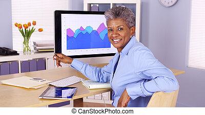 ülés, üzletasszony, afrikai, íróasztal, idősebb ember, boldog