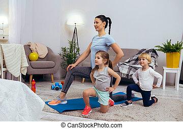 ülés, egy, aktivál, térd, gyerekek, kedves