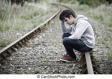 ülés, lehangolt, fiatal, útvonal, vasút, ember