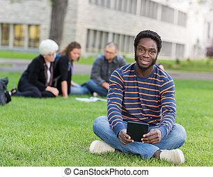ülés, liget, diák, portré, fű, egyetem területe