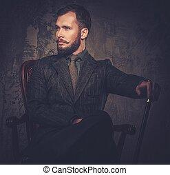 ülés, megkorbácsol, bot, szék, well-dressed, jelentékeny