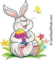 ülés, nyuszi, fű, húsvét, csinos