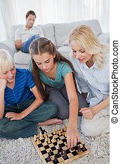 ülés, sakkjáték, anya, testvér, játék, szőnyeg
