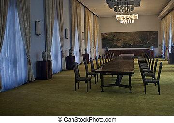 ülésterem, közül, reunification, palace(independence, palace), alatt, ho chi minh város, vietnam