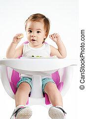 ül, haj, csecsemő, portré, leány, szék