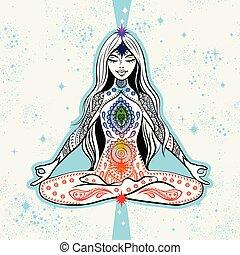 ültetés, jóga, leány, trikó, vektor, tervezés, elmélkedés, gyékényszőnyeg, chakras.
