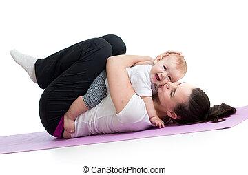 ünnepély, csecsemő, anya, gimnasztikai, állóképesség
