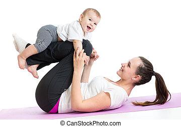 ünnepély, csecsemő, anya, testedzés, állóképesség