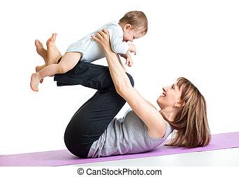 ünnepély, csecsemő, gimnasztikai, anya