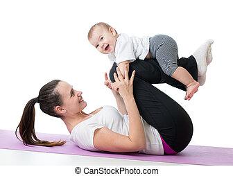 ünnepély, csecsemő, testedzés, anyu, állóképesség