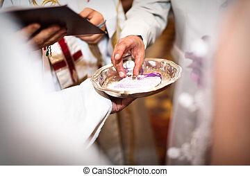 ünnepély, esküvő, áldás, closeup, kézbesít