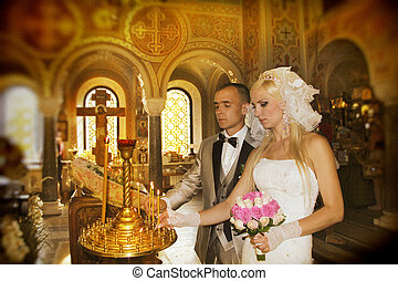 ünnepély, esküvő, templom
