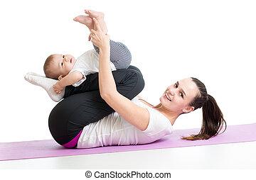 ünnepély, gyermek, állóképesség, gimnasztikai, anya