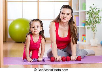 ünnepély, gyermek, nő, testedzés, állóképesség
